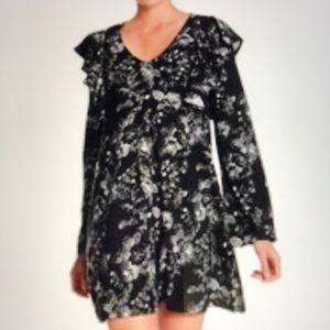 Free Press Floral Woven Black Mini Dress - NWOT